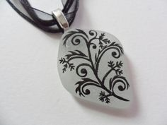Victorian inspired black vines sea glass necklace