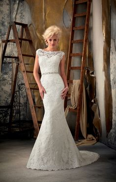 Brush Train Lace Bateau Empire Mermaid Wedding Dress picture 1