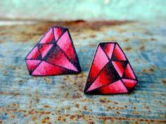 vintage tattoo style ruby garnet earrings by wickedminky on Etsy