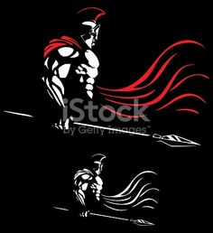 Illustration of Spartan warrior on black background in 2 color versions.