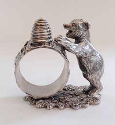 Reed & Barton Silver Plated Napkin Ring Bear 2000 II