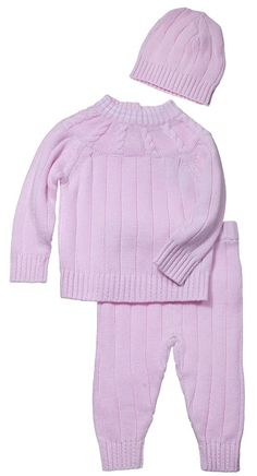 Bimbi Baby Infants Cotton Cable Knit Two Piece Outfit Set with Matching Cap - Pink (3 Months)