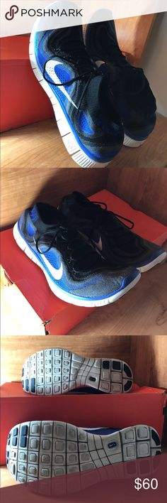 Men's Nike Free Flyknit 5.0, Blue/Grey/Black Nike Free Flyknit 5.0, size 13. Fits big. Replacement box included. Great condition! No toe scuffs, which is common for this shoe. Discontinued, hard to find in good shape. No insoles. Very comfortable! Great for workouts & casual.  The Nike Flyknit upper delivers a compressive, second-skin fit that secures your foot over the Nike Free midsole. Made entirely of polyester yarn, the one-piece upper seamlessly integrates areas of high breathability…