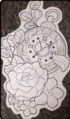 Resultado de imagem para tatuagem ampulheta relógio de bolso