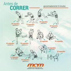 El estiramiento antes de correr nos sirve para preparar el músculo y ponerlo alerta. Es una buena forma de activarlo y despertarlo. Además, se conserva más elástico frente a la rigidez que contrae al hacer ejercicio. Aquí te pasamos 12 ejercicios básicos de estiramiento para que hagas antes de tu entrenamiento. ¡Feliz fin de semana corredores!