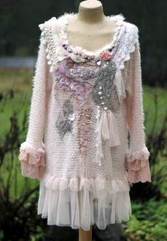Rose quartz - shabby chic romantic feminine jumper with ornate  laces and embroidery