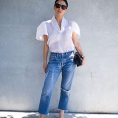 I have meetings all day and then I'll be heading straight to happy hour. Hoping this OOTD will get me through; now I just need to make sure I don't spill my cappuccino xx N #CurrentlyWearing #CircusRoyalty Alexis blouse, @shopredone #jeans, @chanelofficial #handbag and #shoes @loewe #sunglasses