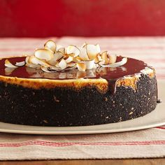 joyful almond cheesecake topped off with ganache it not only finishes the dessert in style but it also hides any cracks that may form while the - Easy Christmas Desserts Pinterest