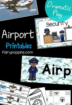 These airport dramatic play printables are a fun addition to role play centers. They include printables to set up an airport in classrooms. Transportation Preschool Activities, Early Learning Activities, Transportation Theme, Kindergarten Centers, Play Based Learning, Preschool Lessons, Activities For Kids, Preschool Education, Preschool Themes