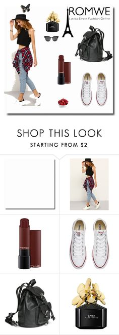 """Denim Pant Romwe"" by dudavagsantos ❤ liked on Polyvore featuring Converse, Marc Jacobs and romwe"