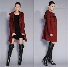 Wholesale New Wool Womens Parka Coats Ladies Long Hooded Coats, Free shipping, $62.74-70.8/Piece   DHgate