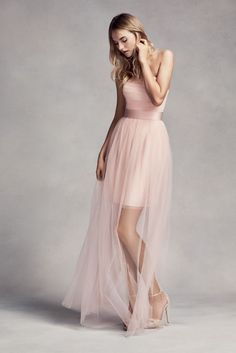 Tulle Short Bridesmaid Dress with Illusion Overskirt - Blush (Pink), 12 Women, Men and Kids Outfit Ideas on our website at 7ootd.com #ootd #7ootd