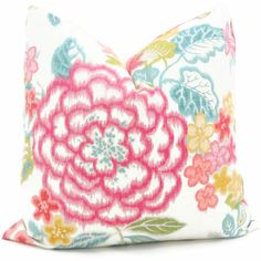 Brightly Colored Pink Turquoise Gold Floral by PopOColor on Etsy