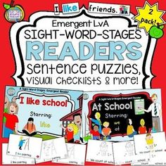 School theme Sight Word Emergent Readers and activities! Kindergarten Reading Activities, Guided Reading Lessons, Kindergarten Lesson Plans, Reading Resources, Sight Word Spelling, Sight Words, Reading Buddies, Literacy Strategies, Reading Recovery
