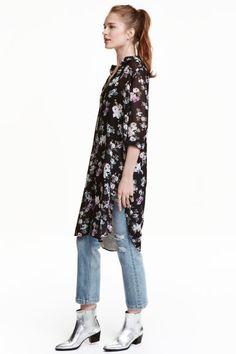H&M Lange blouse van chiffon Dress Over Pants, Long Shirt Dress, Long Blouse, Casual Street Style, Casual Chic Style, H&m Fashion, Fashion Outfits, Casual Outfits, Cute Outfits