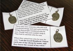 Inexpensive good shepherd medal for end of the year catechesis gifts.