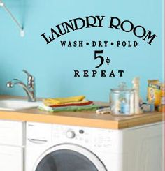 Laundry Room Vinyl Wall Art by CountryCraftandVinyl on Etsy, $20.00