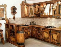 Awesome Kitchen For A Log Cabin.