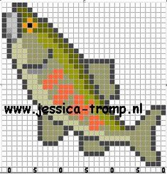 Melty Bead Patterns, Fish Patterns, Perler Patterns, Beading Patterns, Knitting Charts, Knitting Patterns, Crochet Pattern, Beaded Cross Stitch, Cross Stitch Patterns