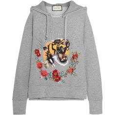 Gucci Embroidered embellished cotton-jersey hooded top (77.395 ARS) ❤ liked on Polyvore featuring tops, hoodies, sweaters, sweatter, gucci, grey, hooded pullover, embroidered hoodies, punk hoodies and gray hoodie