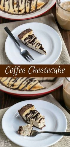 A simple baked chocolate coffee cheesecake pie that's gluten-free and keto frien. A simple baked chocolate coffee cheesecake pie that's gluten-free and keto friendly. It's a classic dessert for any java lover! Cheesecake Au Café, Cheesecake Recipes, Dessert Recipes, Pumpkin Cheesecake, Breakfast Recipes, Keto Friendly Desserts, Low Carb Desserts, Low Carb Recipes, Atkins Desserts
