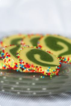 matcha green tea cookies but with white nonpariels