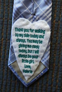 ordered from etsy, sewn on back of dad's tie. I gave it to him when he saw me in my dress for the first time