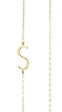 Albeit Jewelry pendant necklaces 14k horizontal necklaces, S initial necklace, S pendant necklace, S necklace