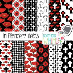 """Poppy Digital Paper - """"In Flanders Fields"""" - Remembrance Day scrapbook paper - poppy and cross seamless patterns in…"""