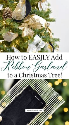 to Put Ribbon on a Christmas Tree - Monica Wants It % : DIY Tutorial: How to EASILY add ribbon garland to a Christmas tree. Christmas Tree Decorations Ribbon, Christmas Tree Decorating Tips, Ribbon On Christmas Tree, Christmas Tree Ornaments, Christmas Holidays, Christmas Stuff, Holiday Decor, Holiday Ideas, Christmas Crafts