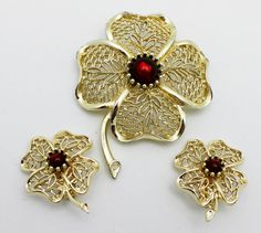 Vintage Emmons Brooch and Earring Set Signed Gold by HeirloomBandB