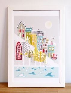 San Francisco Hill houses art print by lauraamiss on Etsy. €10,50 EUR, via Etsy.