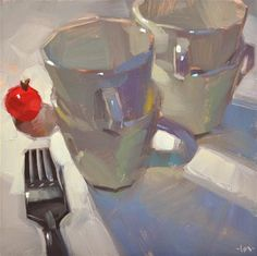 "Daily Paintworks - ""Tomato Run"" - Original Fine Art for Sale - ©️️ Carol Marine Pencil And Paper, Painting Still Life, Kitchen Wall Art, Kitchen Decor, Colored Highlights, Fine Art Gallery, Paintings For Sale, Contemporary Paintings, Art For Sale"