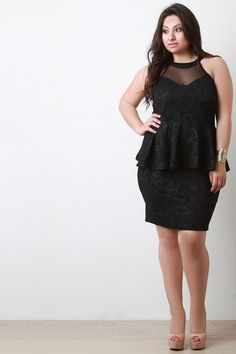 eeb42909f5ad This alluring plus size dress features an embossed paisley fabrication with  mesh contrast