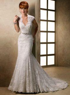 Mermaid Lace Cap Sleeve Wedding Dress, Wedding dresses with sleeves ~ Feenwedding.Com