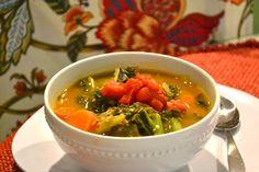 Vegetable, bean, quinoa and kale soup