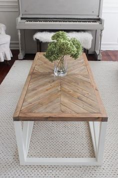 Modern Farmhouse Herringbone Coffee Table - I'd want to change the legs.I love the top! tables ideas diy Modern Farmhouse Herringbone Coffee Table - Shades of Blue Interiors Rustic Coffee Tables, Cool Coffee Tables, Coffee Table Design, Coffee Table Plans, Redone Coffee Table, Coffe Table, C Shaped Coffee Table, Living Room Coffee Tables, Coffee Table Blueprints