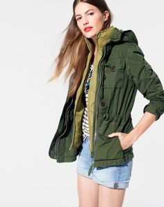 AUG '15 Style Guide: J.Crew women's field mechanic jacket, excursion quilted down vest, striped pocket tee with metallic trim and denim short in light von wash.