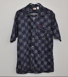 Mens LEVI'S RED TAB Brand Button Front Shirt Size Medium Blue EUC #LevisRedTab #ButtonFront