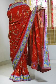 Red Georgette With All Over Hand Work