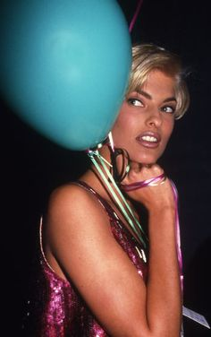 Linda Evangelista at the post-Versace fashion-show party, 67th Street Armory, 1992.  Photo Rose Hartman