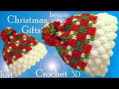 Gorro a Crochet punto Escocés copos de nieve en 3D ideas regalos de Navidad tejido tallermanualperu - YouTube