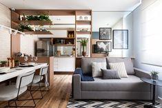 Soluções arquitetônicas dão a impressão de amplitude em apê de 42 m² Decorating Small Spaces, Corner Desk, Divider, Sweet Home, Architecture, Table, Room, Design, Furniture