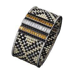 High Jewelry bracelet Bracelet - platinum, natural pearls, calibrated yellow tourmalines, onyx, calibré-cut diamonds, brilliant-cut diamonds.