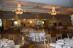 Montclair Balroom www.hockley.com Table Settings, Chandelier, Ceiling Lights, Table Decorations, Weddings, Spring, Fall, Winter, Summer