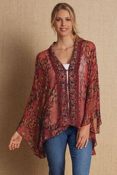 """Silky sheer caftan-style topper captures the colors of fall in an elaborate Tuscan-inspired floral print, with contrasting front panels and a button-and-loop closure. An exotic look for casual or upscale occasions. Poly. 27"""" long. Florence Topper #2AA29"""