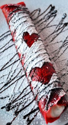 ♥ Red Velvet Crepes --- For Valentine's, Christmas, an Anniversary dinner or just a wonderful, showy dessert anytime!