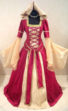 MEDIEVAL WEDDING DRESS COSTUME RED GOLD RENAISSANCE CARNIVAL