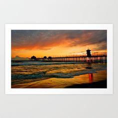 Huntington Beach Pier Sunset ~ Huntington Beach Pier CA  Art Print by John Minar - $19.99