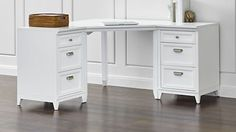 Whitney 6 Drawer Corner Desk Almond White Desks Corner